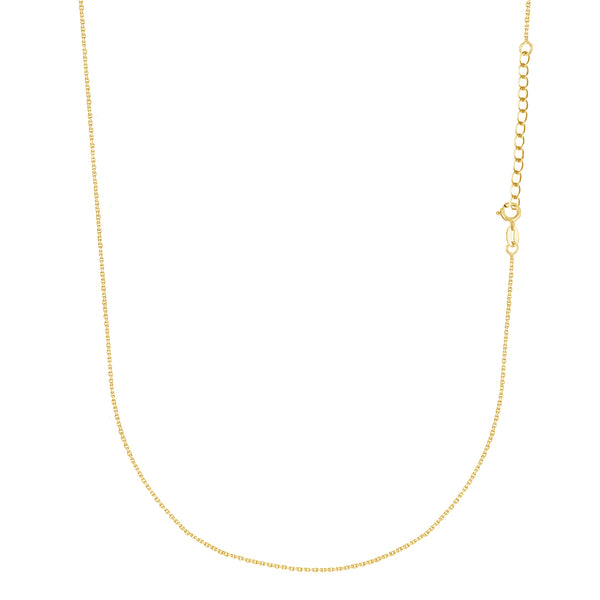 "14K Solid Yellow Gold Cable Chain Baby Childrens Necklace Adjustable 13""-15"""