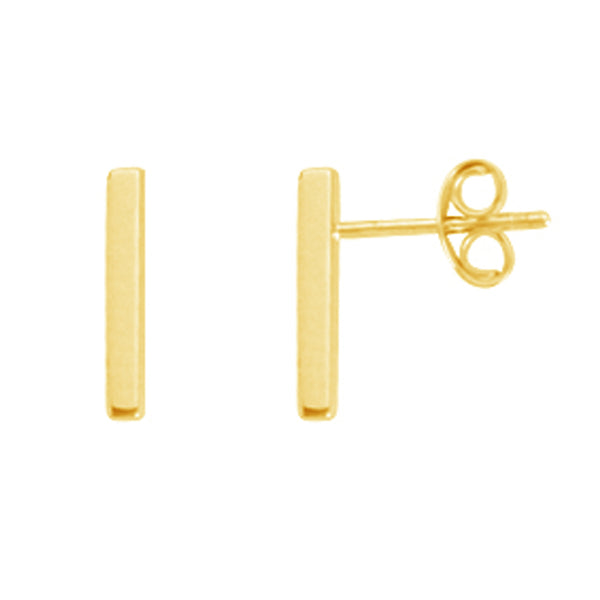 Sterling Silver Geometric Gold Overlay Mini Bar Dash Line Stud Earrings 7x1.5mm