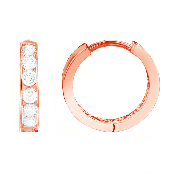 Children's 14k Rose Pink Gold Baby Kids Cubic Zirconia Huggie Hoop 2x10 Mm