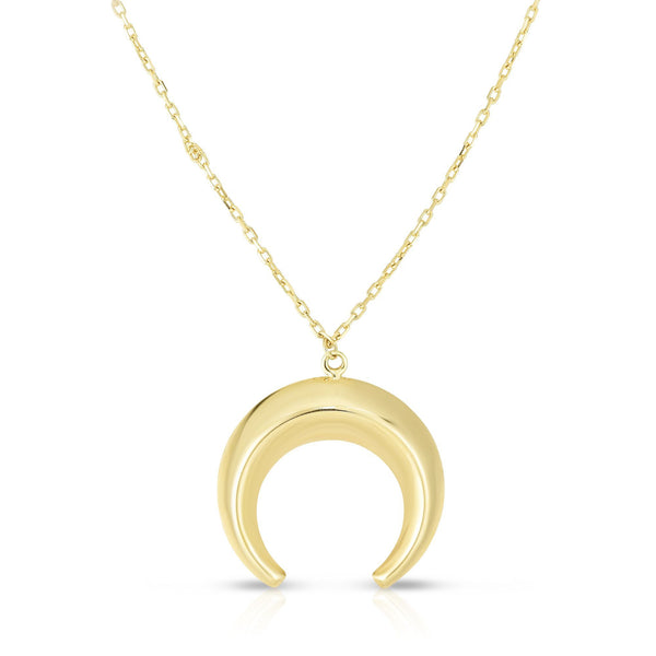 "Ritastephens 14K Yellow Gold Small Round Horn Moon Shape Charm Pendant Necklace 17"" Lobster Clasp"