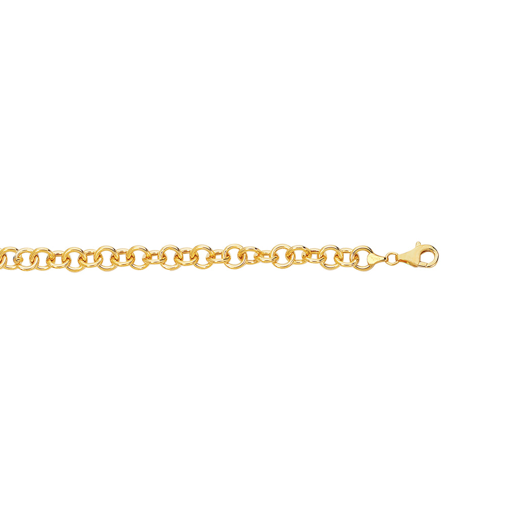 14k Solid Real Yellow Gold Link Charm Bracelet