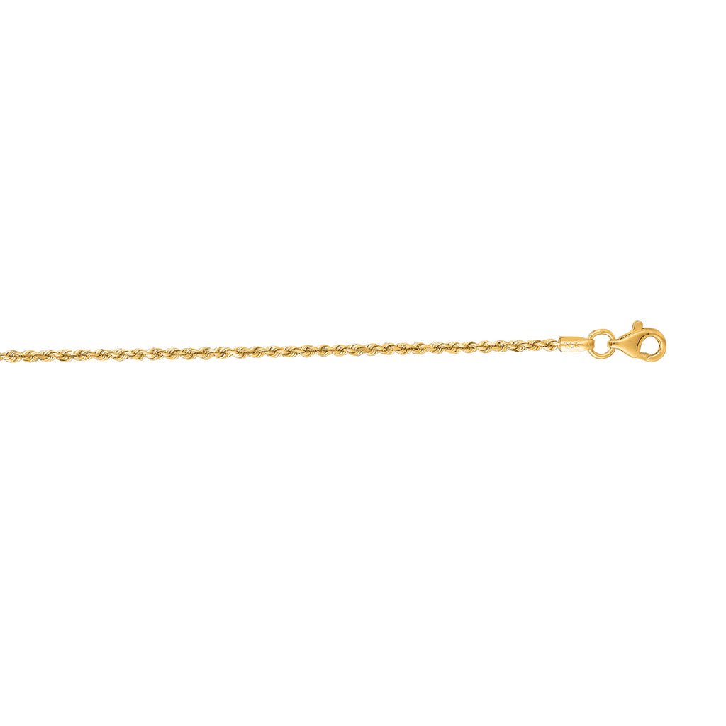 14K Solid Gold DC Rope Chain Necklace 1.5mm