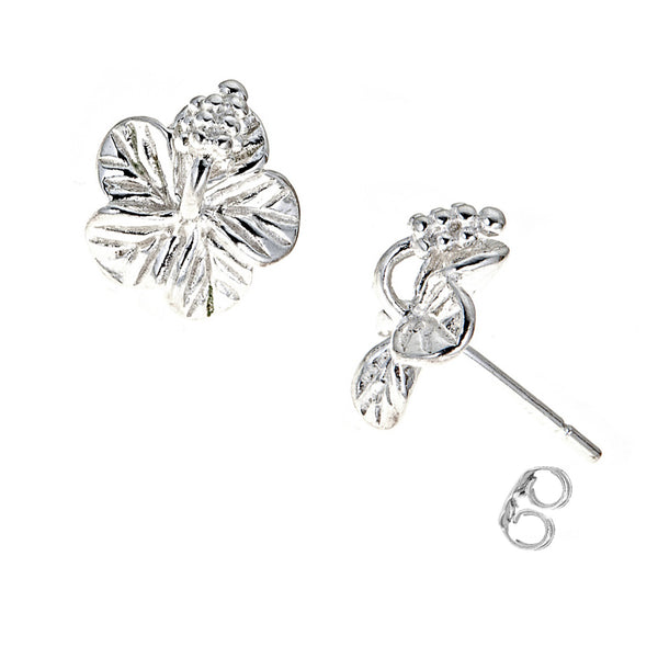 Sterling Silver Mini Hibiscus Flower Small Stud Earrings 10mm