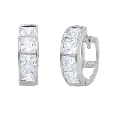 .925 Sterling Silver Princess Cut Huggy Huggies Hoops Hoop Earrings 4.5x14mm CZ