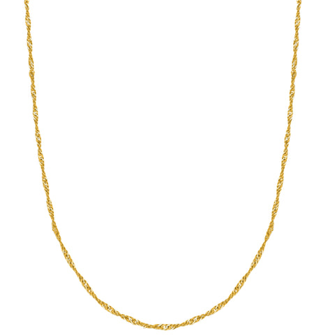 "Ritastephens 10K Solid Yellow Gold Singapore Pendant Chain Lobster lock Necklace 16"",18"", 20"", 22"", 24"" 1.5mm"