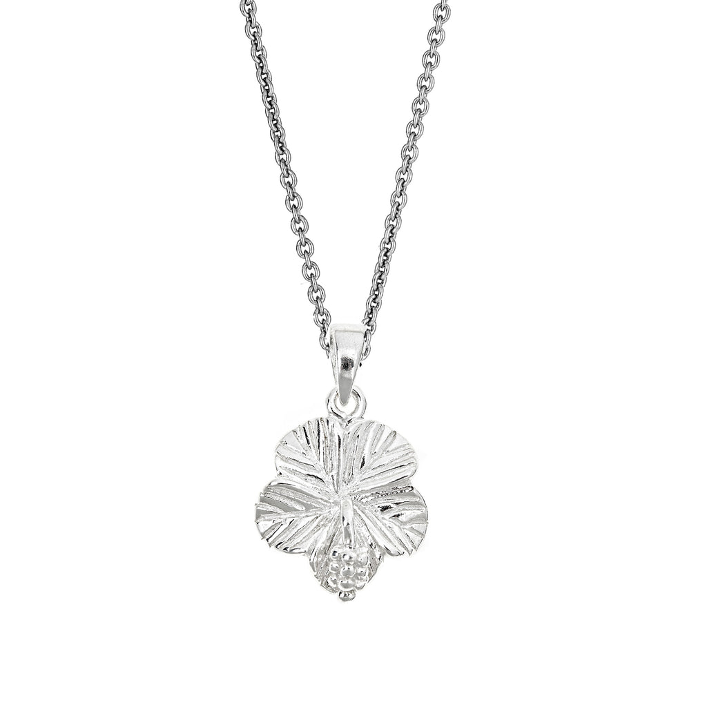 Sterling Silver Small Hibiscus Flower Charm Pendant  Necklace 18 Inches