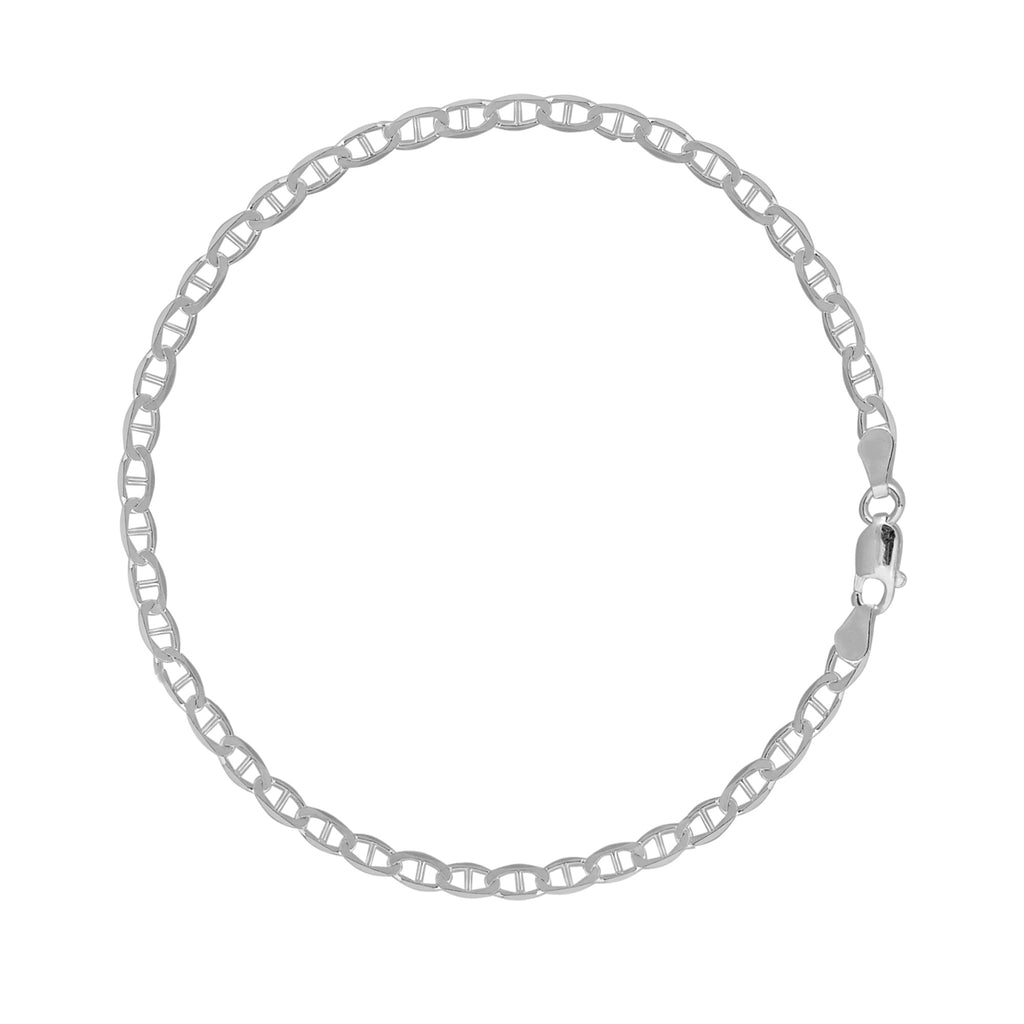 Ritastephens Sterling Silver Mariner Chain Anklet 4 mm (10,11 Inches)