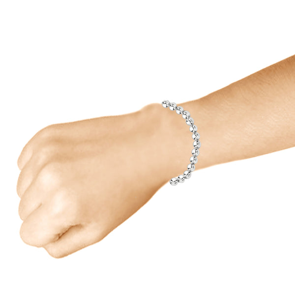 Sterling Silver Classic Shiny Rounded Beads Beaded Link Chain Wrist Bracelet or Necklace (8mm, 10mm)