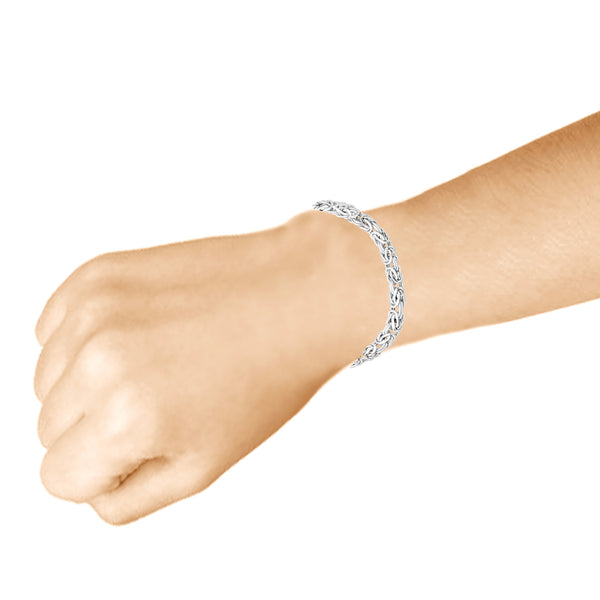 Sterling Silver Classic Rounded Weave Link Byzantine Lobster Clasp Chain Wrist Bracelet or Necklace (8MM)