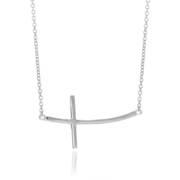 "Sterling Silver Curved Sideways Cross Necklace 16""-18"" Adjustable"