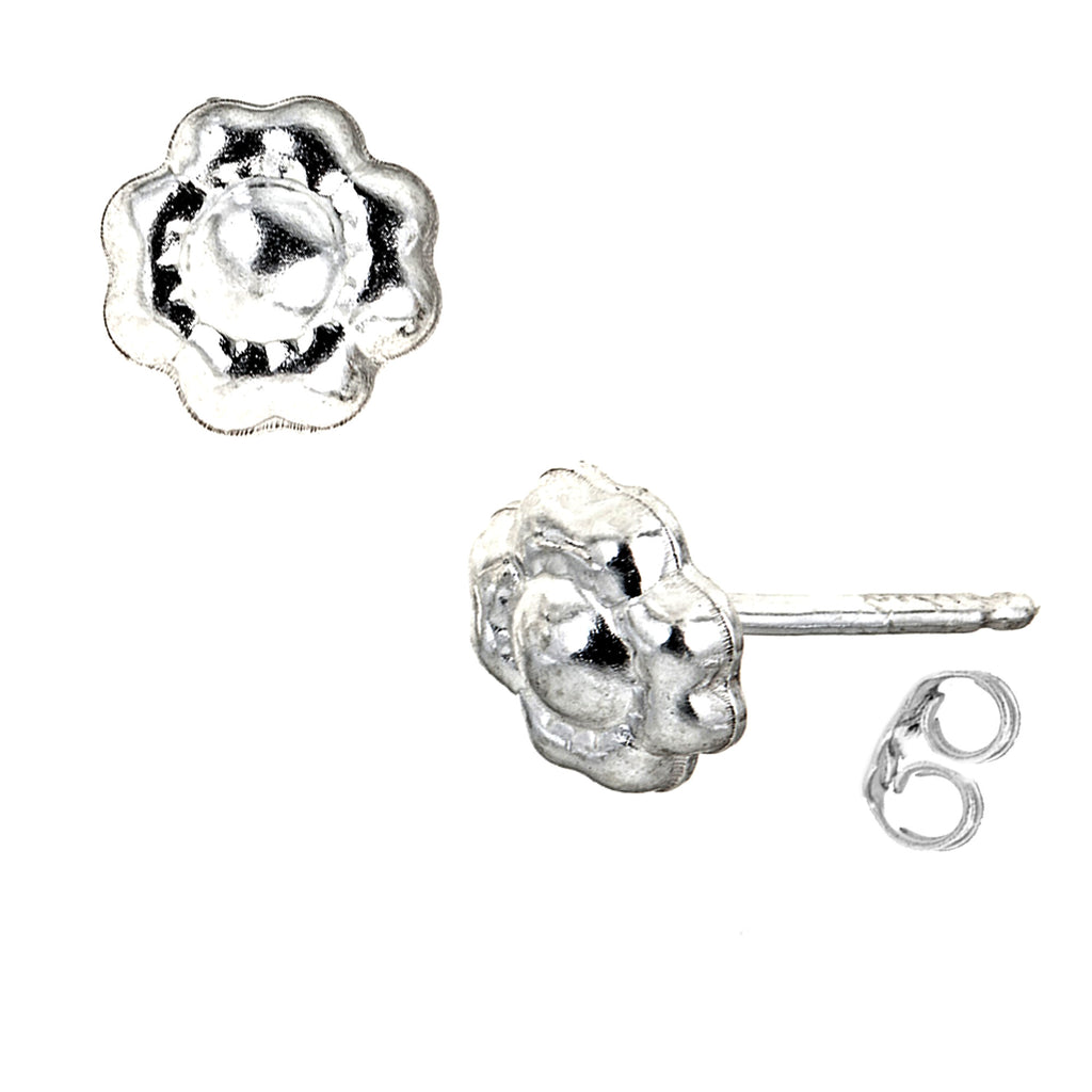 Sterling Silver Mini Flower Stud Small Earrings 8mm