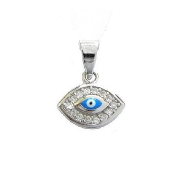 Sterling Silver Evil Eye Good Luck Cubic Zirconia Pendant Charm