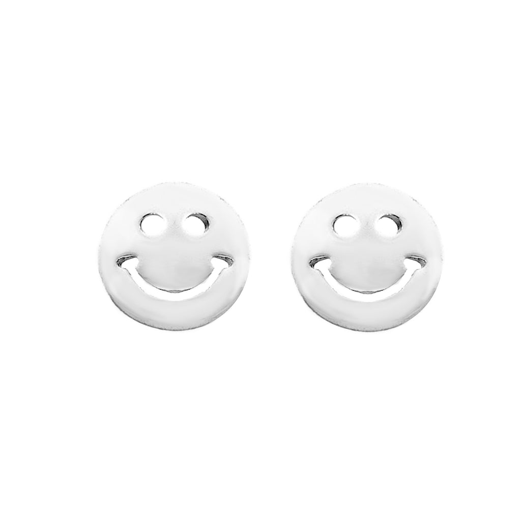 Sterling Silver Mini Smile Smiley Face Tiny Round Stud Earrings 6mm