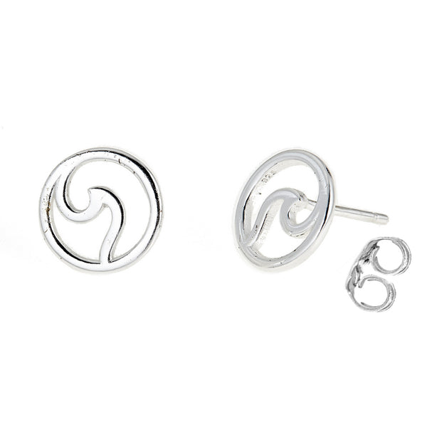Sterling Silver Mini Circle Wave Stud Small Earrings 10mm