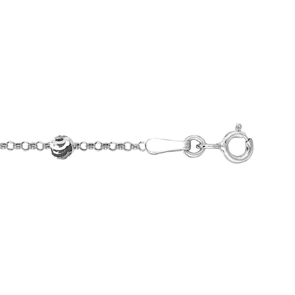 Sterling Silver Adjustable Moon-Cut Bead Station Italian Cable Chain