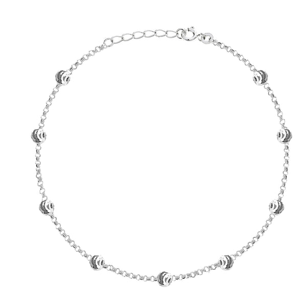 Sterling Silver Adjustable Moon-Cut Bead Station Italian Cable Chain Anklet
