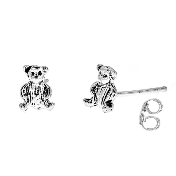 Sterling Silver Mini Teddy Bear Tiny Stud Ted Earrings 6mm