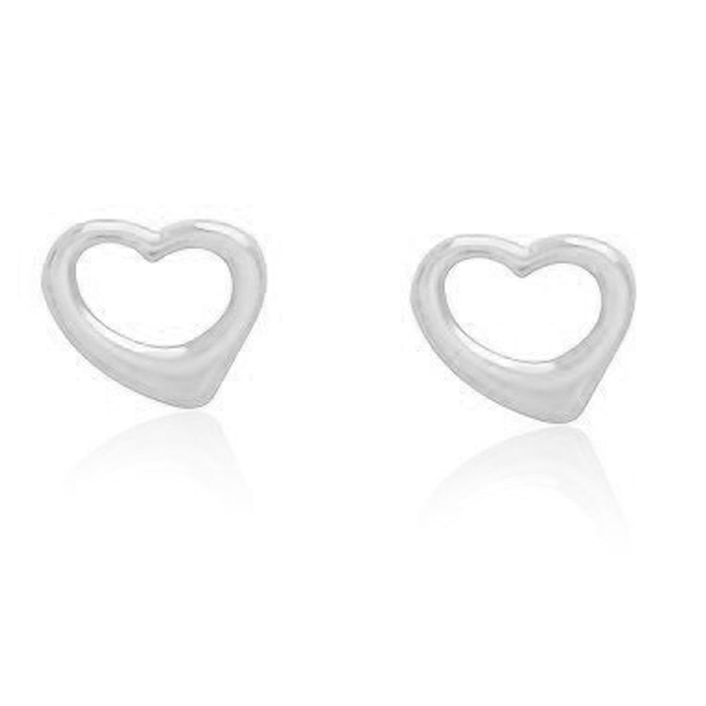 Sterling Silver Open Heart Stud Post Earrings Designer Inspired