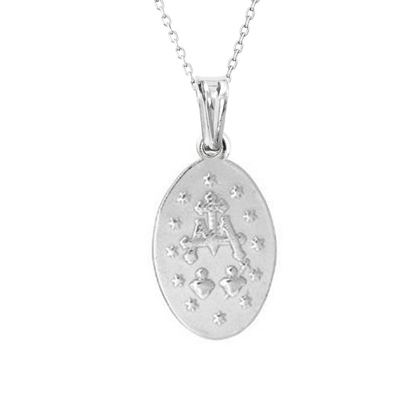 Sterling Silver Miraculous Mary Medal Small Charm Pendant Chain Necklace Back Side