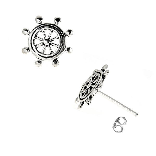 Sterling Silver Small Nautical Ship Wheel Stud Earrings 11mm