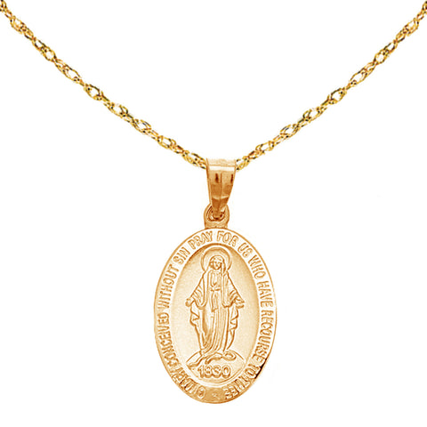 Ritastephens 14k Yellow Gold Small Miraculous Virgin Mary Medal Charm Pendant Necklace