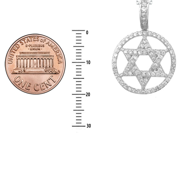 Sterling Silver CZ Star of David Circular Charm Pendant Necklace 18""