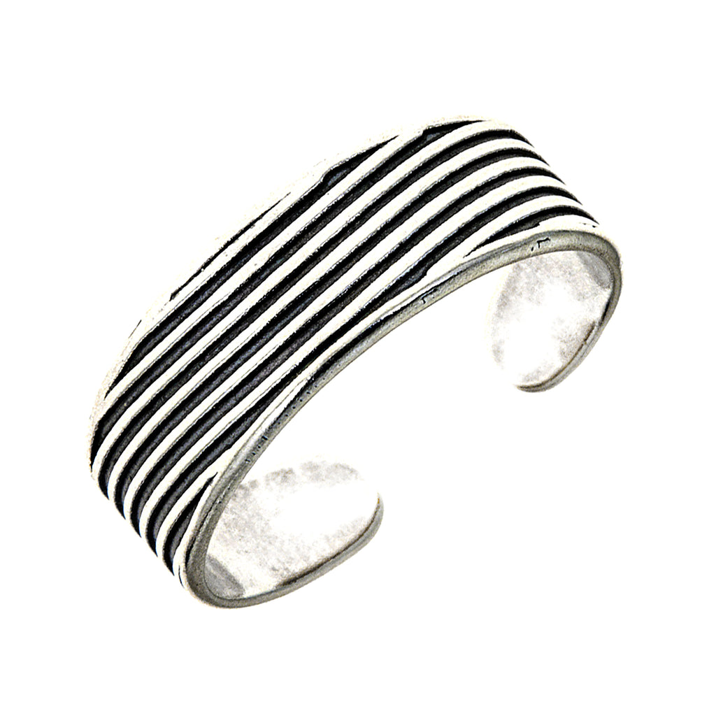 Sterling Silver Oxidized Line Textured Adjustable Toe Ring