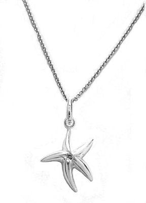 .925 Sterling Silver Starfish CZ Star Fish Charm Pendant Necklace 18""