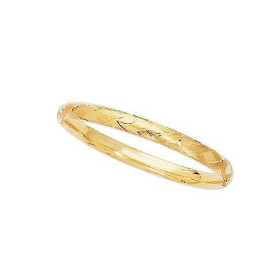 14k Yellow Gold Hinged X O Hugs Kisses Design Bangle Bracelet 8 inches