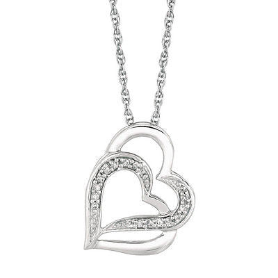 Sterling Silver Diamond Intertwined Double Heart Couples Necklace 0.07ct