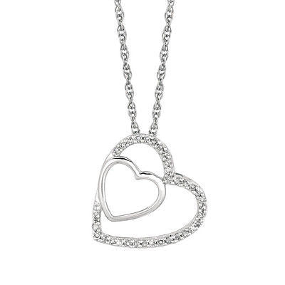 Sterling Silver Diamond Double Heart Couples Necklace Pendant 0.12ct 18""