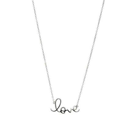 .925 Sterling Silver Love Pendant Necklace 18""