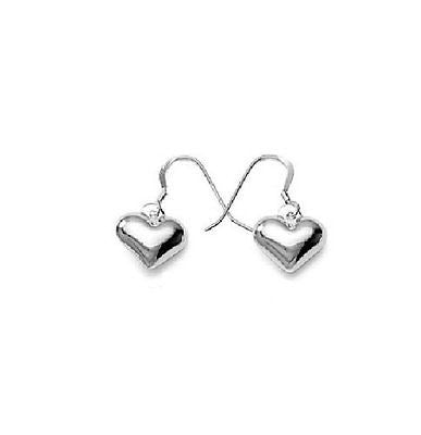 .925 Sterling Silver Shiny Heart Dangle Drop Earrings Hook Clasp