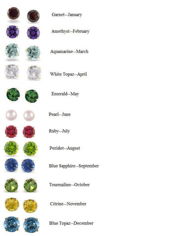 14K Real Gold Genuine Birthstone Gemstone Earrings Ruby Emerald Sapphire 4mm