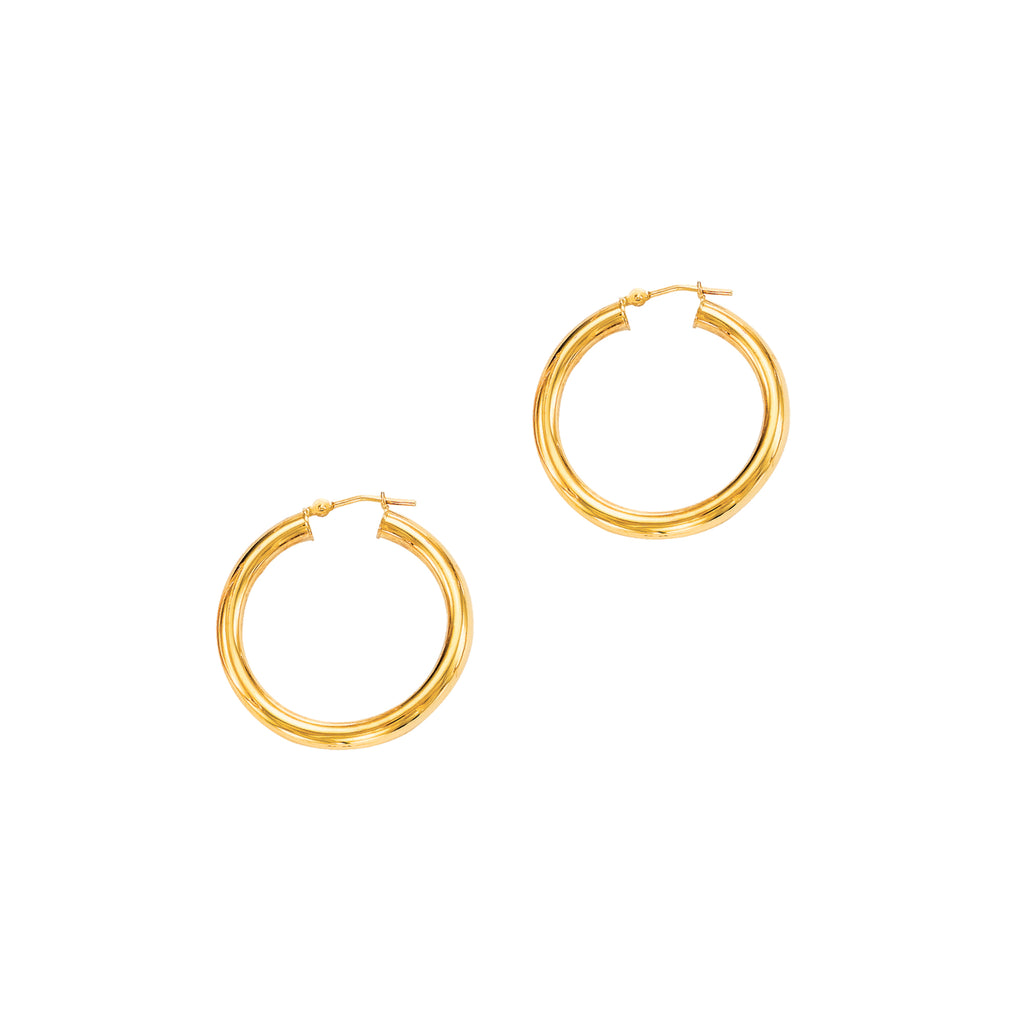 14K Real Yellow Gold Hoops Hoop Earrings Tubular 30x4mm