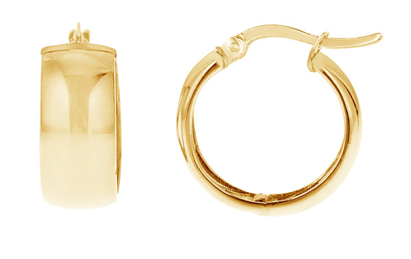 14k Gold Shiny Polished Wide Huggies Hoop Earrings 6x13.5 Mm (Yellow, White, or Pink)
