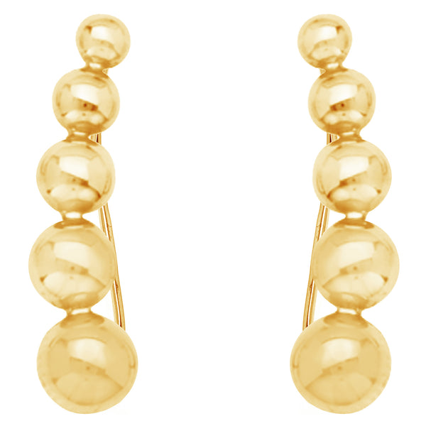 14k Yellow Gold Linear Beaded Ear Climber Crawler Earrings