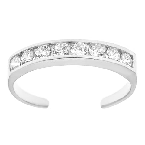 Sterling Silver Channel Set Cubic Zirconia Body Art Adjustable Toe Ring