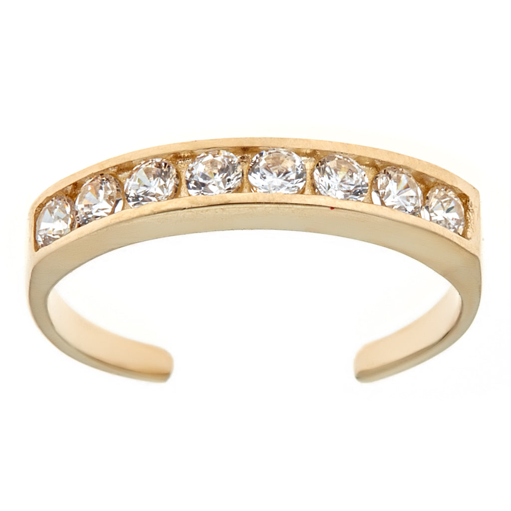 14K Solid Gold CZ Eternity Toe Ring Adjustable Body Jewelry