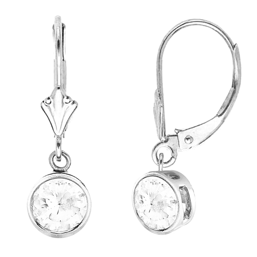 14K Solid White Gold Bezel Set Dangle CZ 6mm Lever Back Earrings New!
