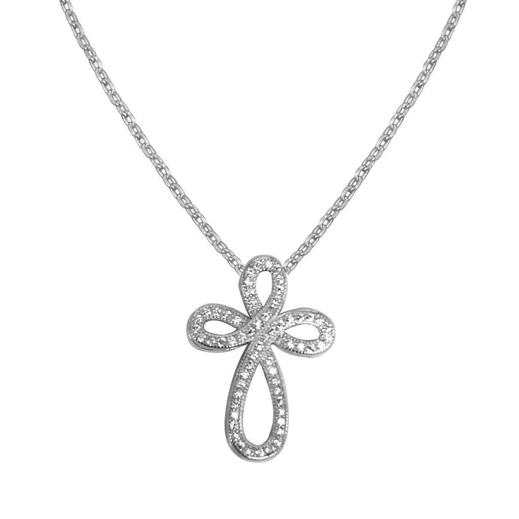 Sterling Silver Cz Infinity Cross Charm Necklace  Pendant 18""