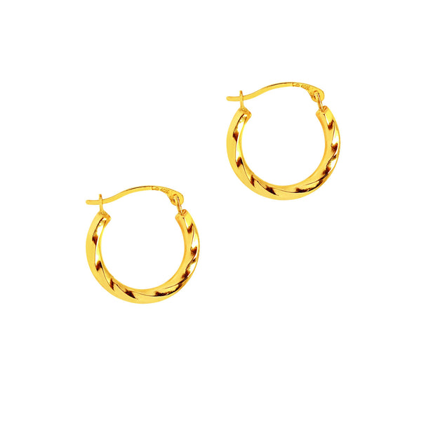 10k Yellow Gold Twisted Hoops Hoop Earrings 16mm