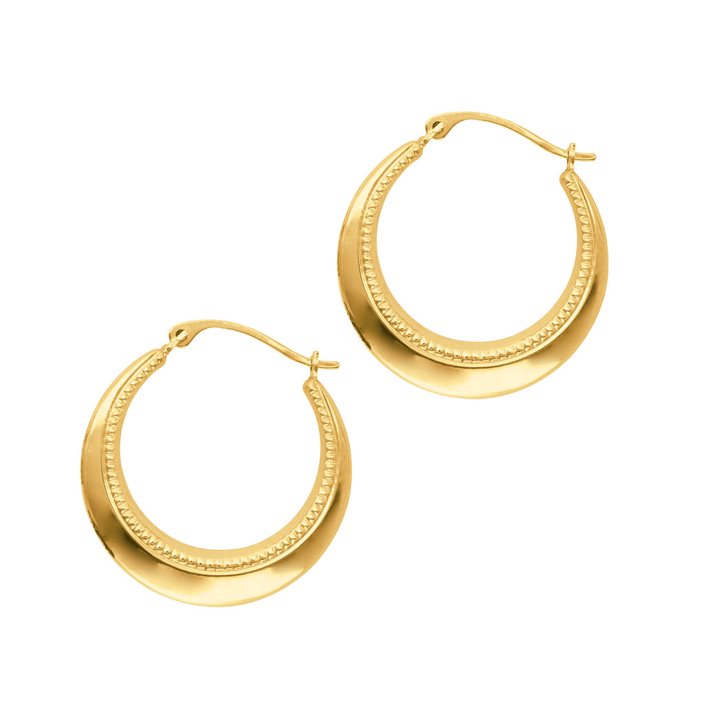 10k Yellow Gold Textured Hoops Hoop Earrings 22mm