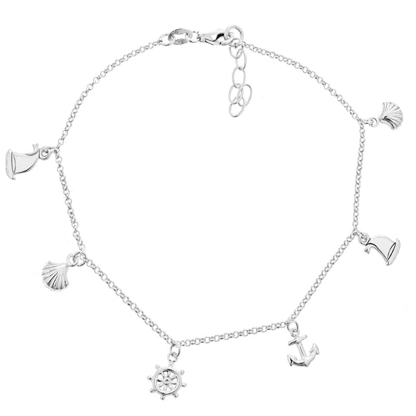 ".925 Sterling Silver Nautical Ankle Charm Bracelet Anklet 9-9.5"" Adjustable"