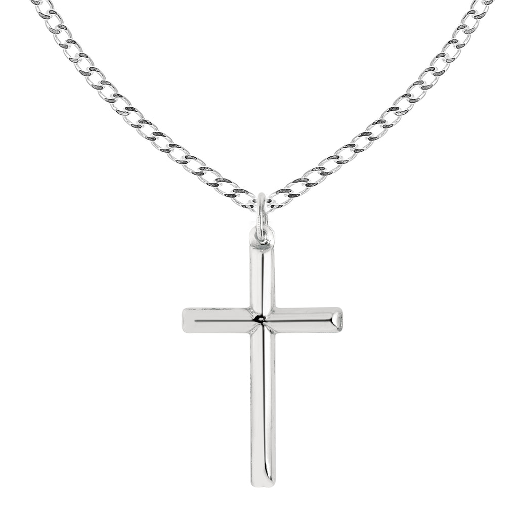 "Ritastephens Sterling Silver Shiny Italian Cross Pendant Necklace 24"" (35mm)"