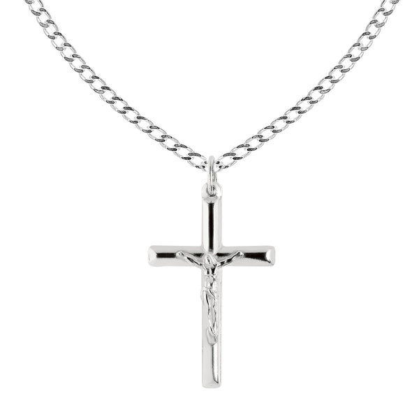 Men's Sterling Silver Large Tubular Crucifix Cross Charm Pendant Necklace 24""