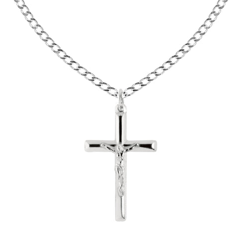 Ritastephens Sterling Silver Italian Crucifix Cross Pendant Chain Necklace (35mm)