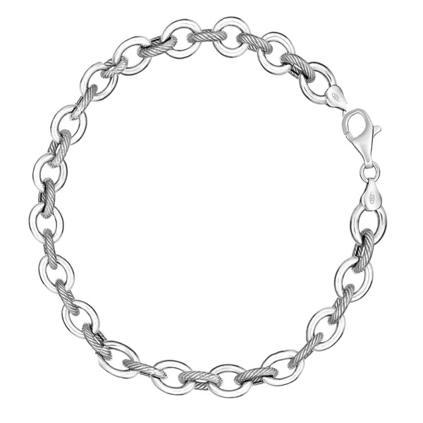 Sterling Silver Rhodium Shiny and Textured Medium Oval Link Bracelet 7.5 Inches