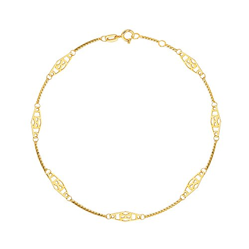 14K Solid Yellow Gold Infinity Anklet Adjustable 10""