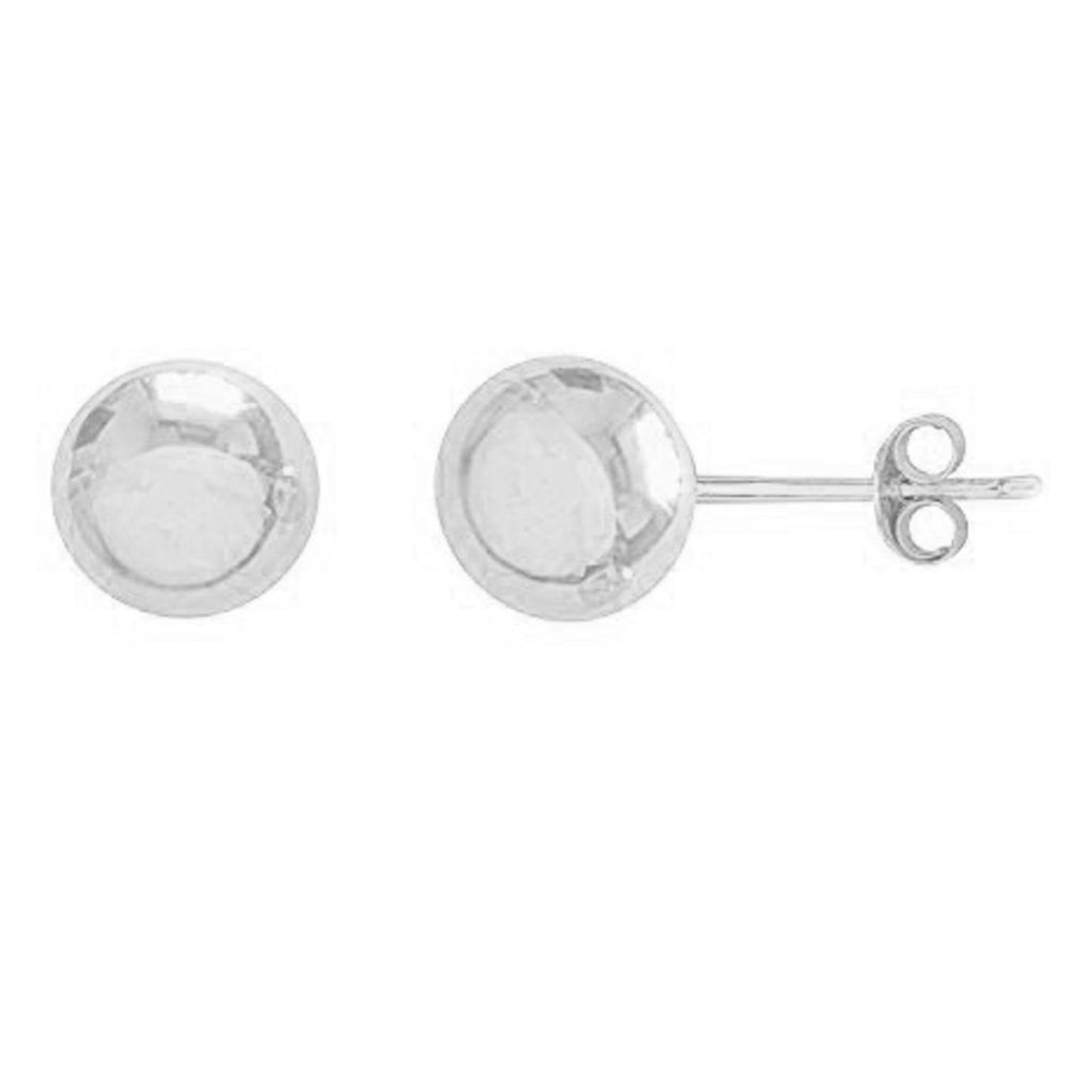 14K White Gold Round Ball Earrings Polished Studs 4 mm 4mm New